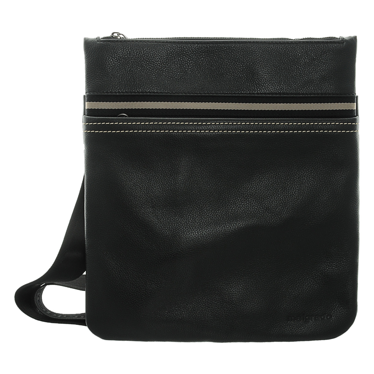Сумка мужская Malgrado, цвет: черный. BR09-304A2669101225Мужская сумка Malgrado, выполнена из натуральной кожи, оформлена контрастной строчкой. Основное отделение закрывается железной молнией, в основном отделе кожаные кармашки для ручек и мобильного телефона и карман на молнии. Спереди удобный карман, закрывающийся на пластмассовую молнию, сзади карман на магнитной кнопке. Модель снабжена плечевым ремнем. Характеристики:Материал: натуральная кожа, текстиль, металл. Размер сумки: 33 см х 29 см х 3 см. Длина ремня: 35 см. Цвет: черный. Артикул: BR09-304A2669.