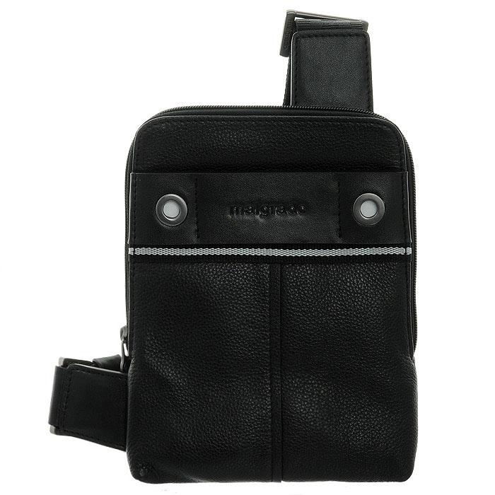Сумка мужская Malgrado, цвет: черный. BR12-513B4743101225Мужская сумка Malgrado, выполнена из натуральной кожи. Основное отделение закрывается молнией. В основном отделе кармашек для мобильного телефона и карман на молнии. С внешней стороны сумочки сумки спереди и сзади небольшие кармашки на магнитных кнопках. Модель снабжена плечевым ремнем. Характеристики:Материал: натуральная кожа, текстиль, металл. Размер сумки: 24 см х 18 см х 2 см. Цвет: черный. Артикул: BR12-513B4743.
