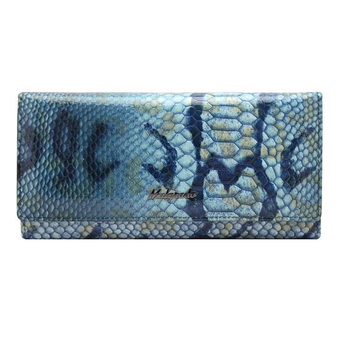 Кошелек женский Malgrado, цвет: голубой. 72076-15707INT-06501Стильный кошелек Malgrado изготовлен из натуральной кожи голубого цвета декоративным тиснением под рептилию и вмещает в себя купюры в развернутом виде в полную длину. Кошелек имеет шесть отделений для купюр и два дополнительных кармана на молнии. Также внутри расположены четыре кармана для дисконтных карт, визиток или кредиток, один прозрачный кармашек, в который можно положить пропуск, проездной документ или фотографию и два дополнительный потайных кармана. Снаружи с оборотной стороны расположен дополнительный карман на молнии. Закрывается кошелек клапаном на кнопку. Кошелек упакован в подарочную металлическую коробку с логотипом фирмы. Такой кошелек станет замечательным подарком человеку, ценящему качественные и практичные вещи. Характеристики:Материал: натуральная кожа, текстиль, металл. Размер кошелька: 18,5 см х 9,5 см х 3 см. Цвет: голубой. Размер упаковки: 23 см х 13 см х 4,5 см. Артикул: 73003-7003D.