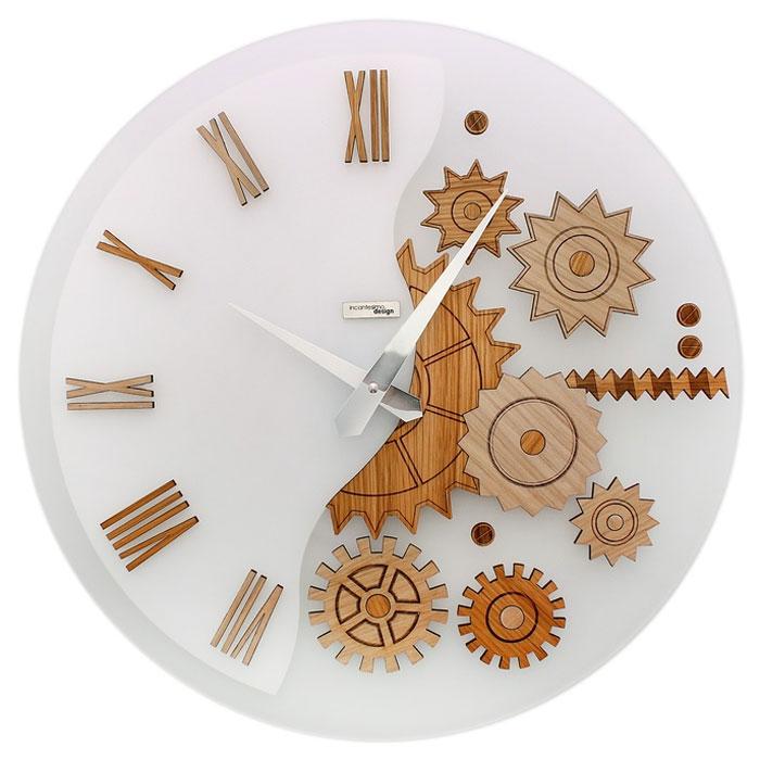 Часы настенные MeKKanico, кварцевые, цвет: белый, бежевый. 654291300074_ежевикаОригинальные настенные часы MeKKanico выполнены из синтетического матового стекла в круглом корпусе. Циферблат оформлен римскими цифрами, элементами в виде шестеренок, стилизованных под дерево и двумя стрелками часовой и минутной, выполненных из металла. На задней стенке расположены металлическая петелька для подвешивания и блок с часовым механизмом.Необычное дизайнерское решение и качество исполнения придутся по вкусу каждому. Оформите совой дом таким интерьерным аксессуаром или преподнесите его в качестве презента друзьям, и они оценят ваш оригинальный вкус и неординарность подарка. Характеристики:Материал: синтетическое матовое стекло, пластик, металл. Тип механизма:тикающий. Диаметр часов:45 см. Размер упаковки:47 см х 46 см х 5 см. Артикул: 654291. Рекомендуется докупить батарейку типа АА (не входит в комплект).