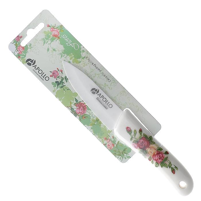 Нож для овощей Apollo Flores, керамический, цвет: белый, длина лезвия 7,5 см9/903Нож Apollo Flores изготовлен из высококачественной циркониевой керамики - гигиеничного, экологически чистого материала. Нож имеет острое лезвие, не требующее дополнительной заточки. Эргономичная рукоятка выполнена из высококачественного пищевого пластика белого цвета и оформлена цветочным принтом. Рукоятка не скользит в руках и делает резку удобной и безопасной. Такой нож превосходно подходит для нарезки и обработки различных овощей. Керамика - это отличная альтернатива металлу. В отличие от стальных ножей, керамические ножи не переносят ионы металла в пищу, не разрушаются от кислот овощей и фруктов и никогда не заржавеют. Этот нож будет служить вам многие годы при соблюдении простых правил.Допускается мытье в горячей воде с моющими средствами. Ввиду хрупкости материала, используйте нож бережно. Характеристики:Материал:циркониевая керамика, пластик. Цвет:белый. Общая длина ножа:16,5 см. Длина лезвия: 7,5 см. Артикул:FLR-04.