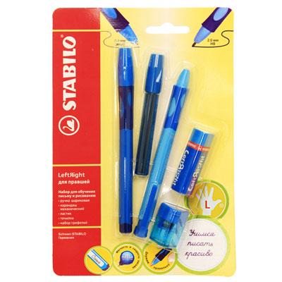 Канцелярский набор Stabilo Leftright для левшей, цвет: голубой, 5 предметов6318/41-5B_голНабор пишущих принадлежностей STABILO LeftRight д/левшей 5предметов в блистере. (В наборе: шариковая ручка, механический карандаш, грифели для м/карандаша, точилка для грифеля, ластик) Шариковая ручка, механический карандаш, точилка для грифеля имеют маркировку R-для правшей или L-для левшей.Корпусы ручки и механического карандаша трехгранной формы изготовлены из пластика. Зона обхвата трехгранной формы из материала, предотвращающего скольжение пальцев. Ее форма обеспечивает естественное положение пальцев при письме и обеспечивает максимально комфортное письмо для детской руки. Углубления на зоне обхвата показывают ребенку, где располагать пальцы при письме, тем самым обеспечивают правильное положение пальцев ребенка при письме и помогают выработать у ребенка навык правильно держать пишущий инструмент. Длина и вес ручки и карандаша уменьшены, чтобы исключить неблагоприятное воздействие рычага и минимизировать усилия, которые прилагает ребенок при письме. Ручку и механический карандаш можно подписать. Для этого есть углубление для бумажной вставки. Технология Hi-Flux и чернила ручки пониженной вязкости обеспечивают легкое и мягкое письмо практически без нажима и более высокую скорость письма. Чернила быстро высыхают и не размазываются. Толщина линии ручки 0,3 мм. Цвет чернил – синий. Сменный стержень Грифель у карандаша толщиной 2мм, длиной 88мм. (В футлярчике 8 грифелей твердостью НВ) Точилка предназначена специально для грифеля 2мм. Характеристики: Толщина грифеля: 2 мм. Твердость карандаша:НВ. Цвет чернил ручки:синий. Толщина стержня ручки:0,3 мм. Длина карандаша:13,5 см. Длина ручки (с колпачком):14,3 см. Размер точилки:3 см х 2 см х 2 см. Размер ластика:5 см х 1,5 см х 1,5 см. Длина футляра для стержней:9,5 см. Размер упаковки:21 см х 13,5 х 2,5 см. Шариковая ручка, механический карандаш, футляр со сменными грифелями, точилка для грифеля, ластик.