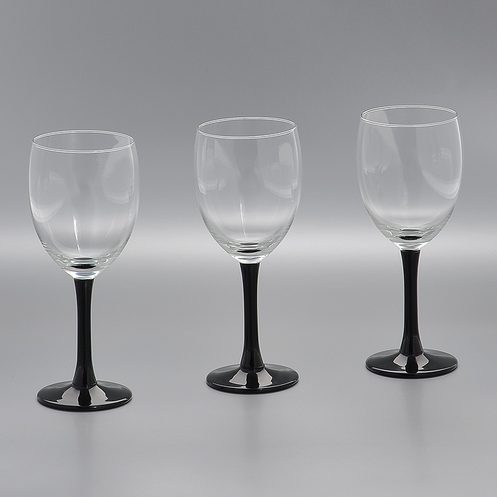 Набор бокалов Clarity Black, цвет: черный, 240 мл, 3 штГл 323733Набор Clarity Black, выполненный из высококачественного стекла, состоит из трех бокалов на высокой ножке черного цвета. Набор оценят как любители классики, так и те, кто предпочитает современный дизайн.Набор бокалов Clarity Black идеально подойдет для сервировки стола и станет отличным подарком к любому празднику. Характеристики:Материал: стекло. Цвет: черный. Комплектация: 3 шт. Объем: 240 мл. Диаметр бокала по верхнему краю:6,5 см. Высота бокала:17,5 см. Диаметр основания:6 см. Производитель: Нидерланды. Артикул:Гл 323733.