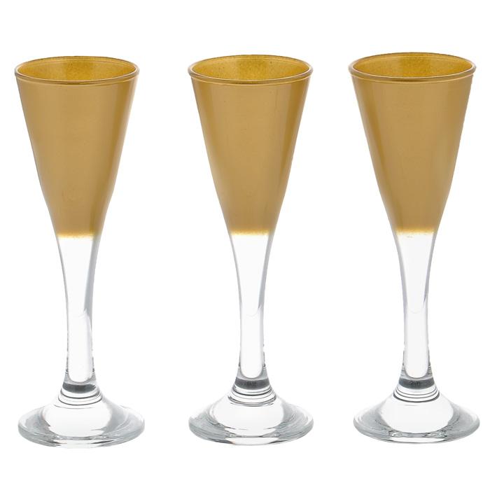 Набор фужеров Workshop Joy, цвет: золотистый, 45 мл, 3 штVT-1520(SR)Набор Workshop Joy, выполненный из стекла золотистого цвета, состоит из 3 изящных фужеров на ножках, которые излучают приятный блеск и издают мелодичный хрустальный звон. Фужеры идеально подойдут для сервировки стола и станут отличным подарком к любому празднику. Характеристики: Материал: натрий-кальций-силикатное стекло. Внутренний диаметр по верхнему краю: 5 см. Высота: 14 см. Диаметр по нижнему краю: 5 см. Объем: 45 мл. Комплектация: 3 шт. Размер упаковки (Д х Ш х В): 20 см х 5 см х 14 см. Артикул: 44103GL/.