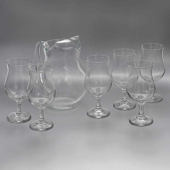 Набор Сангрия : кувшин, бокалы, 7 предметовVT-1520(SR)Набор Сангрия, состоящий из шести бокалов и кувшина, несомненно, придется вам по душе. Бокалы и кувшин изготовлены из прочного высококачественного стекла. Благодаря такому набору пить напитки будет еще вкуснее. Набор Сангрия будет прекрасно смотреться за праздничным столом и на кухне в повседневной жизни. Характеристики:Материал: стекло. Диаметр бокала (по верхнему краю):7 см. Высота бокала:17,5 см. Диаметр основания бокала:7 см. Объем бокала: 392 мл. Размер кувшина по верхнему краю: 12 см х 11,5 см. Высота кувшина: 22 см. Объем кувшина: 2,6 л. Комплектация:7 предметов. Размер упаковки:27 см х 36 см х 23 см. Артикул:Ам 3717YS6А.