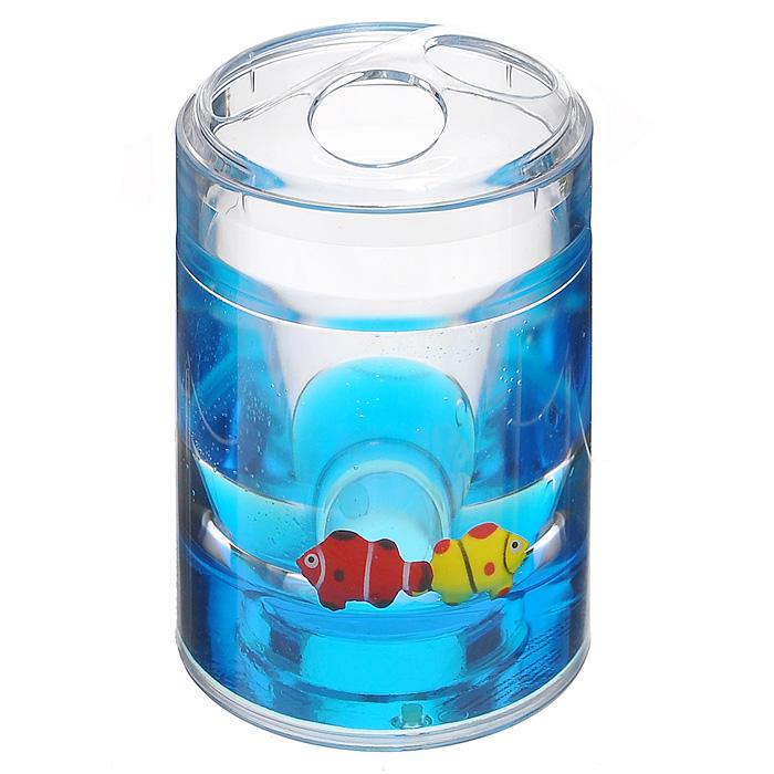 Стаканчик для зубных щеток Рыбки68/5/3Стаканчик для зубных щеток Рыбки, изготовленный из прозрачного пластика, отлично подойдет для вашей ванной комнаты. Внутри стакана синий гелиевый наполнитель с рыбками красного и желтого цветов.Стаканчик для зубных щеток создаст особую атмосферу уюта и максимального комфорта в ванной. Характеристики: Материал: пластик, акрил, гелиевый наполнитель. Цвет: синий, желтый, красный. Диаметр стаканчика по верхнему краю: 7 см. Высота стаканчика: 12 см. Производитель: Швеция. Изготовитель: Китай. Размер упаковки: 8 см х 8 см х 13 см. Артикул: 860-31.
