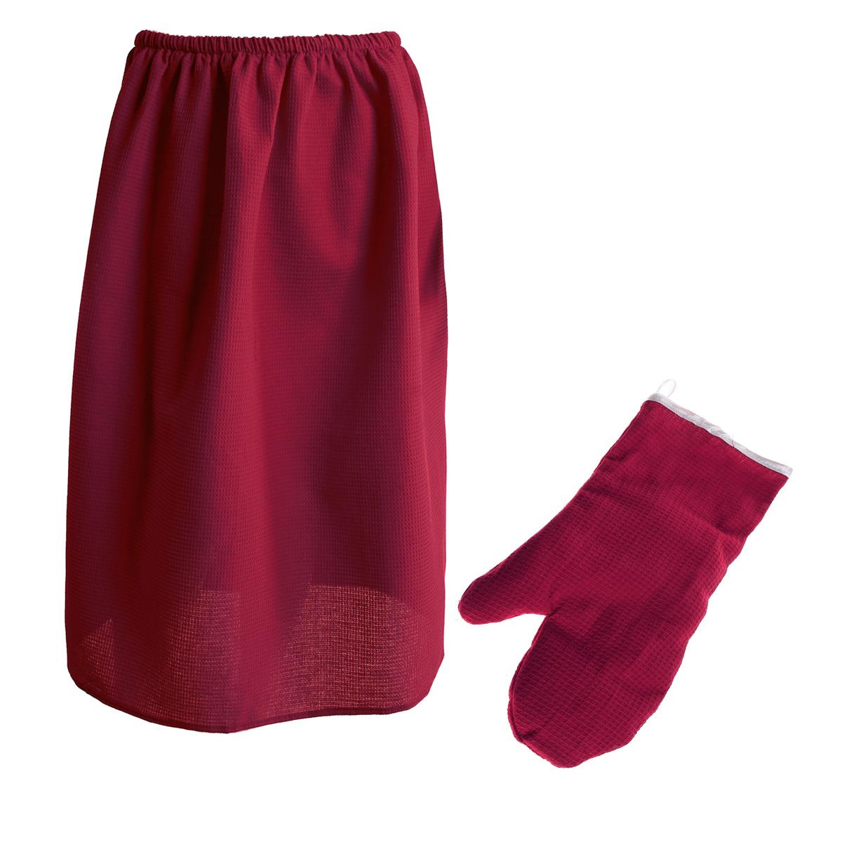 Комплект для бани и сауны Банные штучки женский, 2 предмета, цвет: бордовый905247_голубой, розовыйКомплект для бани и сауны Банные штучки, выполненный из натурального хлопка бордового цвета, привлечет внимание любителей модных тенденций в банной одежде.Набор состоит из вафельной накидки и рукавицы.Накидка - это многофункциональное полотенце специального покроя с резинкой и застежкой. В парилке можно лежать на ней, после душа вытираться, а во время отдыха использовать как удобную накидку.Рукавица обезопасит ваши руки от горячего пара или ручки ковша. Рукавицей можно также прекрасно помассировать тело.Такой набор будет приятно получить в подарок каждому. Характеристики: Материал: 100% хлопок. Длина накидки: 78 см. Ширина накидки: 145 см. Размер: 36-60. Размер рукавицы: 26,5 см х 17,5 см. Артикул: 32062.