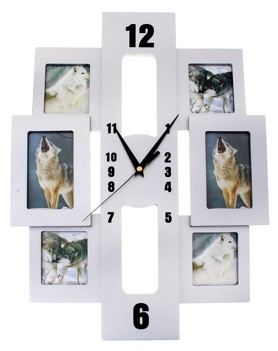 Часы настенные Хайтек, кварцевые, с 6 фоторамками. 6720731404B-1358Настенные кварцевые часы Хайтек - это прекрасный предмет декора, а также универсальный подарок практически по любому поводу. Корпус часов, выполнен из дерева с серебристым покрытием, оформлен шестью фоторамками. Основная прямоугольная рамка, вместо циферблата оснащена тремя фигурными стрелками: часовой, минутной и секундной. Цифры нанесены черной краской на рамке сверху. На задней стенке часов расположена металлическая петелька для подвешивания и блок с часовым механизмом. Часы с рамками прекрасно впишутся в любой интерьер. В зависимости оттого, что вы поместите в рамки, будет меняться и стиль часов. Характеристики:Материал: стекло, дерево. Тип механизма:плавающий, бесшумный. Размер часов:47 см х 30 см. Толщина корпуса часов:1 см. Размер фото:11 см х 6 см; 7,5 см х 6 см. Размер упаковки:49 см х 34 см х 4 см. Рекомендуется докупить батарейку типа АА (не входит в комплект).