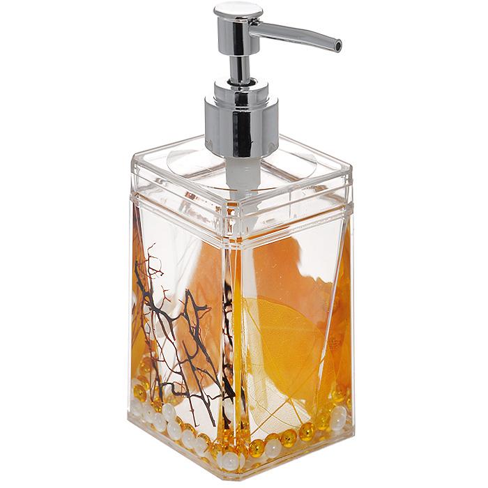 Дозатор для жидкого мыла Gold Leaf97678Дозатор для жидкого мыла Gold Leaf, изготовленный из прозрачного пластика, отлично подойдет для вашей ванной комнаты. Дозатор имеет двойные стенки, между которыми находится прозрачный гелевый наполнитель с золотистыми листьями, веточками и бусинами белого и золотистого цвета. Такой аксессуар очень удобен в использовании, достаточно лишь перелить жидкое мыло в дозатор, а когда необходимо использование мыла, легким нажатием выдавить нужное количество. Дозатор для жидкого мыла Gold Leaf создаст особую атмосферу уюта и максимального комфорта в ванной. Характеристики: Материал: пластик, акрил, гелевый наполнитель. Цвет: золотистый, черный, белый. Размер дозатора: 7 см х 7 см х 17 см. Производитель: Швеция. Изготовитель: Китай. Размер упаковки: 7,5 см х 7,5 см х 17,5 см. Артикул: 877-88.