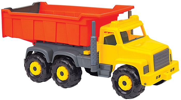"""Яркий самосвал """"Супергигант"""", изготовленный из прочного безопасного пластика, отлично подойдет ребенку для различных игр. Кабина самосвала выполнена из пластика желтого и серого цветов, а кузов - оранжевого цвета. Вместительный кузов самосвала поднимается и опускается. Шесть больших и широких колес обеспечивают машине устойчивость и хорошую проходимость. Ваш юный строитель сможет прекрасно провести время дома или на улице, подвозя к месту игрушечной стройки необходимые предметы на этом красочном самосвале."""