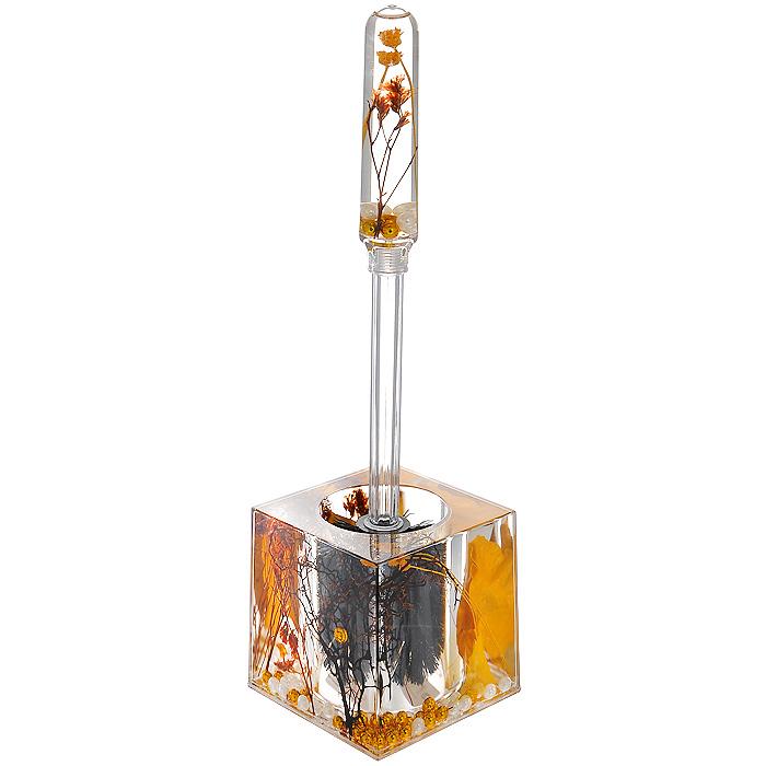 Ершик для унитаза Gold LeafRICCI RRH-2150-SЕршик для унитаза Gold Leaf выполнен из пластика с жестким ворсом. Он хранится в специальной пластиковой подставке. Внутри подставки и ершика прозрачный гелевый наполнитель с веточками, листочками и бусинами белого и золотистого цветов. Ершик отлично чистит поверхность, а грязь с него легко смывается водой.Стильный дизайн изделия притягивает взгляд и прекрасно подойдет к интерьеру туалетной комнаты. Характеристики:Материал: пластик, акрил, гелевый наполнитель. Цвет: золотистый, черный, белый. Длина ершика: 33 см. Размер подставки для ершика: 9,5 см х 9,5 см х 9,5 см. Размер упаковки: 12,5 см х 10 см х 14,5 см. Производитель: Швеция. Изготовитель: Китай. Артикул: 808-88.