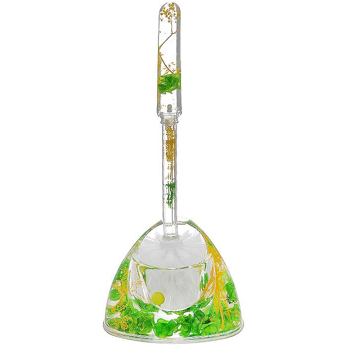 Ершик для унитаза Green Garden1004900000360Ершик для унитаза Green Garden выполнен из пластика с жестким ворсом. Он хранится в специальной пластиковой подставке. Внутри подставки и ершика прозрачный гелевый наполнитель с зелеными листочками, веточками и ягодами. Ершик отлично чистит поверхность, а грязь с него легко смывается водой.Стильный дизайн изделия притягивает взгляд и прекрасно подойдет к интерьеру туалетной комнаты. Характеристики:Материал: пластик, акрил, гелевый наполнитель. Цвет: зеленый, салатовый, желтый. Длина ершика: 35 см. Размер подставки для ершика: 16,5 см х 12,5 см х 11 см. Размер упаковки: 14 см х 12,5 см х 11,5 см. Производитель: Швеция. Изготовитель: Китай. Артикул: 808-54.