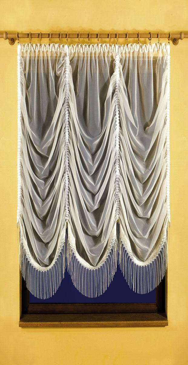 Гардина Karina, на ленте, цвет: кремовый, высота 150 см3111254625Вуалевая гардина Karina, изготовленная из полиэстера кремового цвета, станет великолепным украшением любого окна. По всей поверхности гардина оформлена сборками, нижняя часть украшена бахромой. Оригинальный дизайн и необычное исполнение привлекут внимание и украсят интерьер помещения. Гардина оснащена шторной лентой. Характеристики:Материал: 100% полиэстер. Цвет: кремовый. Размер упаковки:36 см х 26 см х 4 см. Артикул: 620371.В комплект входит: Гардина - 1 шт. Размер в собранном виде (ШхВ): 150 см х 150 см. Фирма Wisan на польском рынке существует уже более пятидесяти лет и является одной из лучших польских фабрик по производству штор и тканей. Ассортимент фирмы представлен готовыми комплектами штор для гостиной, детской, кухни, а также текстилем для кухни (скатерти, салфетки, дорожки, кухонные занавески). Модельный ряд отличает оригинальный дизайн, высокое качество. Ассортимент продукции постоянно пополняется.