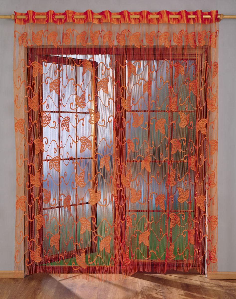 Гардина-лапша Laura, на петлях, цвет: оранжевый, высота 250 смS03301004Гардина-лапша Laura, изготовленная из полиэстера оранжевого цвета, станет великолепным украшением любого окна. Гардина-лапша отличается от других видов гардин тем, что имеет основание в виде листочков, на которые крепится бахрома. Это отличное решение как для гардины на окно, так и для портьеры в дверной проем или просто занавески для разграничения пространства в комнате. Гардина-лапша оснащена петлями для крепления на круглый карниз. Характеристики:Материал: 100% полиэстер. Цвет: оранжевый. Высота петли: 6 см. Размер упаковки:29 см х 6 см х 36 см. Артикул: 676064.В комплект входит:Гардина-лапша - 1 шт. Размер (ШхВ): 270 см х 250 см.Фирма Wisan на польском рынке существует уже более пятидесяти лет и является одной из лучших польских фабрик по производству штор и тканей. Ассортимент фирмы представлен готовыми комплектами штор для гостиной, детской, кухни, а также текстилем для кухни (скатерти, салфетки, дорожки, кухонные занавески). Модельный ряд отличает оригинальный дизайн, высокое качество. Ассортимент продукции постоянно пополняется.