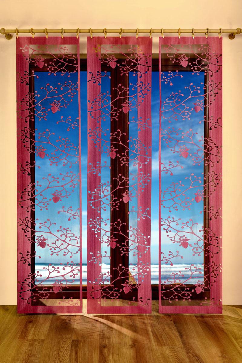Гардина-панно Trio, цвет: бордовый, черный, высота 250 смS03301004Воздушная гардина-панно Trio, изготовленная из полиэстера черного и бордового цветов, станет великолепным украшением любого окна. Тонкое плетение, оригинальный принт привлекут к себе внимание и органично впишется в интерьер комнаты. Верхняя часть гардины не оснащена креплениями. Характеристики:Материал: 100% полиэстер. Цвет: бордовый, черный. Размер упаковки:25 см х 2 см х 35 см. Артикул: 683024.В комплект входит:Гардина-панно - 3 шт. Размер (ШхВ): 50 см х 250 см.Фирма Wisan на польском рынке существует уже более пятидесяти лет и является одной из лучших польских фабрик по производству штор и тканей. Ассортимент фирмы представлен готовыми комплектами штор для гостиной, детской, кухни, а также текстилем для кухни (скатерти, салфетки, дорожки, кухонные занавески). Модельный ряд отличает оригинальный дизайн, высокое качество. Ассортимент продукции постоянно пополняется. УВАЖАЕМЫЕ КЛИЕНТЫ!Обращаем ваше внимание на цвет изделия. Цветовой вариант гардины, данной в интерьере, служит для визуального восприятия товара. Цветовая гамма данной гардины представлена на отдельном изображении фрагментом ткани.