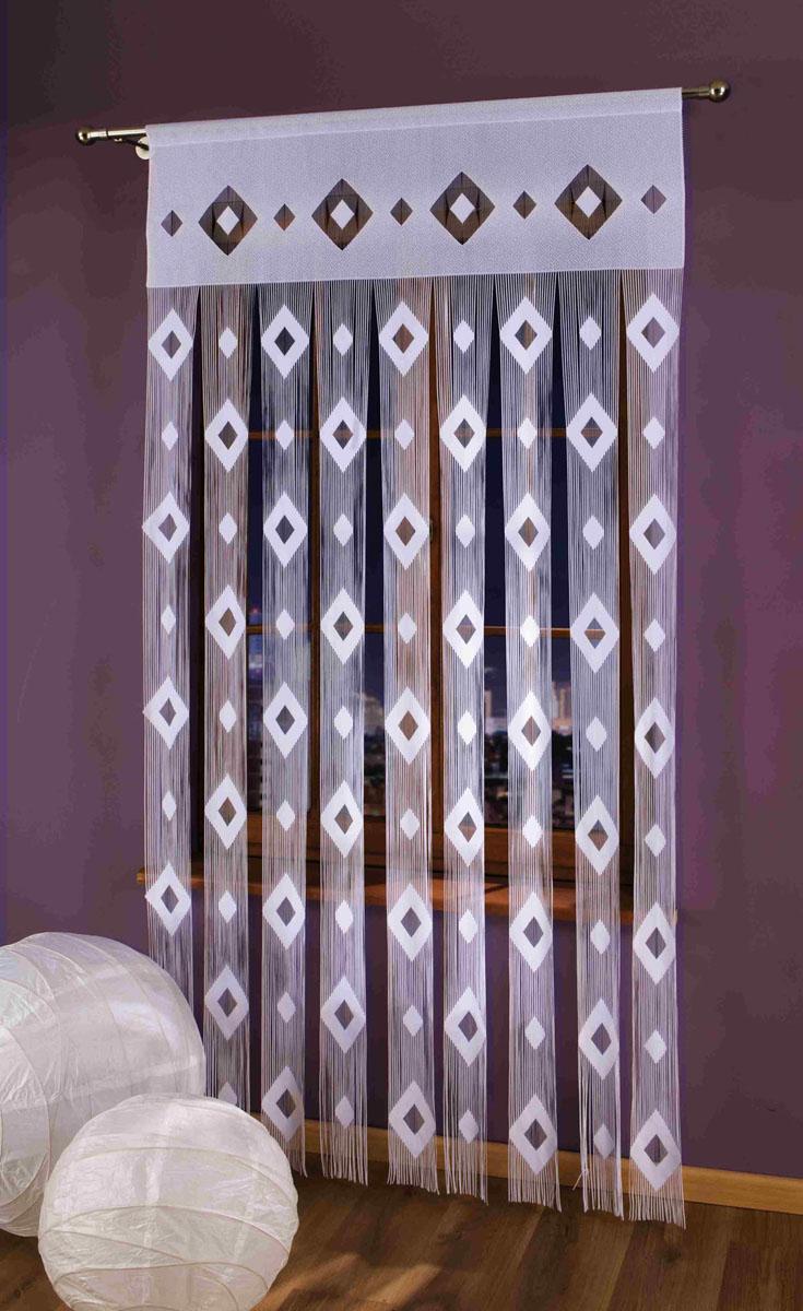 Гардина-лапша Morfeusz, на кулиске, цвет: белый, высота 250 смSVC-300Гардина-лапша Morfeusz, изготовленная из полиэстера белого цвета, станет великолепным украшением окна, дверного проема и прекрасно послужит для разграничения пространства. Гардина украшена мелкой бахромой и графическим принтом в виде ромбов. Необычный дизайн и яркое оформление привлекут внимание и органично впишутся в интерьер.Гардина-лапша оснащена кулиской для крепления на круглый карниз. Характеристики:Материал: 100% полиэстер. Цвет: белый. Высота кулиски: 6 см. Размер упаковки:27 см х 37 см х 3 см. Артикул: 696857.В комплект входит: Гардина-лапша - 1 шт. Размер (ШхВ): 150 см х 250 см. Фирма Wisan на польском рынке существует уже более пятидесяти лет и является одной из лучших польских фабрик по производству штор и тканей. Ассортимент фирмы представлен готовыми комплектами штор для гостиной, детской, кухни, а также текстилем для кухни (скатерти, салфетки, дорожки, кухонные занавески). Модельный ряд отличает оригинальный дизайн, высокое качество. Ассортимент продукции постоянно пополняется.