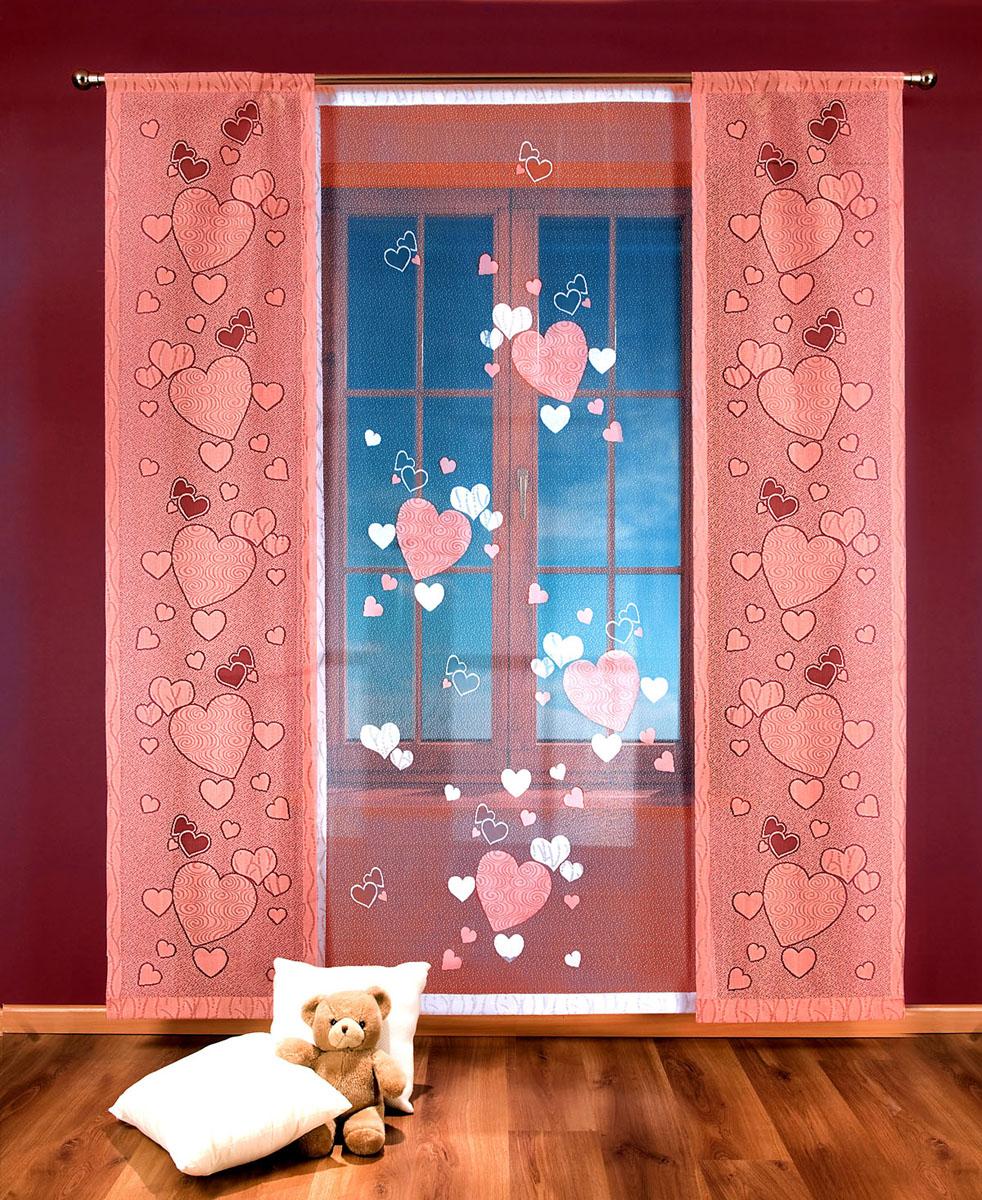 Гардина-панно Сердечки, на кулиске, цвет: белый, розовый, высота 250 смS03301004Гардина-панно Сердечки, изготовленная из полиэстера, станет великолепным украшением любого окна. Это отличное решение как для портьеры в дверной проем или просто занавески для разграничения пространства в комнате. Гардина включает в себя одно широкое полотно белого цвета и два небольших полотна розового цвета. Тонкое плетение и рисунок в виде сердечек привлекут к себе внимание и органично впишутся в интерьер комнаты. Гардина оснащена кулиской для крепления на круглый карниз. Характеристики:Материал: 100% полиэстер. Цвет: белый, розовый. Высота кулиски: 8,5 см. Размер упаковки:27 см х 36 см х 4 см. Артикул: 706761.В комплект входит:Гардина-панно - 1 шт. Размер (ШхВ): 100 см х 250 см.Гардина-панно - 2 шт. Размер (ШхВ): 50 см х 250 см.Фирма Wisan на польском рынке существует уже более пятидесяти лет и является одной из лучших польских фабрик по производству штор и тканей. Ассортимент фирмы представлен готовыми комплектами штор для гостиной, детской, кухни, а также текстилем для кухни (скатерти, салфетки, дорожки, кухонные занавески). Модельный ряд отличает оригинальный дизайн, высокое качество. Ассортимент продукции постоянно пополняется.УВАЖАЕМЫЕ КЛИЕНТЫ!Обращаем ваше внимание на цвет изделия. Цветовой вариант гардины-панно, данной в интерьере, служит для визуального восприятия товара. Цветовая гамма данной гардины-панно представлена на отдельном изображении фрагментом ткани.