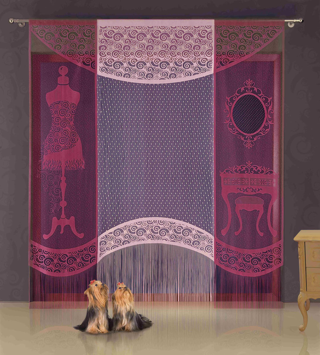 Гардина-панно Wisan, на кулиске, цвет: бордовый, розовый, высота 250 смS03301004Гардина-панно Wisan, изготовленная из полиэстера, станет великолепным украшением любого окна. Это отличное решение как для гардины на окно, так и для портьеры в дверной проем или просто занавески для разграничения пространства в комнате. Нижняя часть гардины-панно декорирована бахромой. Гардина включает в себя одно широкое полотно розового цвета и два небольших полотна бордового цвета. Тонкое плетение, оригинальный дизайн и приятная цветовая гамма привлекут к себе внимание и органично впишутся в интерьер комнаты. Гардина оснащена кулиской для крепления на круглый карниз. Характеристики:Материал: 100% полиэстер. Цвет: бордовый, розовый. Высота кулиски: 6 см. Размер упаковки:27 см х 36 см х 4 см. Артикул: 718122.В комплект входит:Гардина-панно - 1 шт. Размер (ШхВ): 100 см х 250 см.Гардина-панно - 2 шт. Размер (ШхВ): 60 см х 250 см.Фирма Wisan на польском рынке существует уже более пятидесяти лет и является одной из лучших польских фабрик по производству штор и тканей. Ассортимент фирмы представлен готовыми комплектами штор для гостиной, детской, кухни, а также текстилем для кухни (скатерти, салфетки, дорожки, кухонные занавески). Модельный ряд отличает оригинальный дизайн, высокое качество. Ассортимент продукции постоянно пополняется.УВАЖАЕМЫЕ КЛИЕНТЫ!Обращаем ваше внимание на цвет изделия. Цветовой вариант гардины-панно, данной в интерьере, служит для визуального восприятия товара. Цветовая гамма данной гардины-панно представлена на отдельном изображении фрагментом ткани.