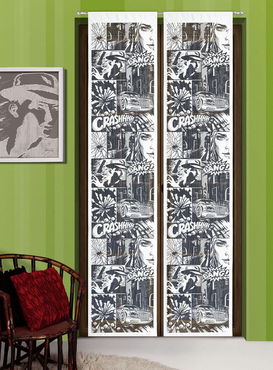 Гардина-панно Komiks, на кулиске, цвет: белый, черный, высота 240 смSVC-300Воздушная гардина-панно Komiks, изготовленная из полиэстера, станет великолепным украшением любого окна. Оригинальный принт в виде комиксов и приятная цветовая гамма привлекут к себе внимание и органично впишутся в интерьер комнаты. Гардина оснащена кулиской для крепления на круглый карниз. Характеристики:Материал: 100% полиэстер. Размер упаковки:27 см х 34 см х 2 см. Артикул: 718672.В комплект входит:Гардина-панно - 1 шт. Размер (Ш х В): 50 см х 240 см. Фирма Wisan на польском рынке существует уже более пятидесяти лет и является одной из лучших польских фабрик по производству штор и тканей. Ассортимент фирмы представлен готовыми комплектами штор для гостиной, детской, кухни, а также текстилем для кухни (скатерти, салфетки, дорожки, кухонные занавески). Модельный ряд отличает оригинальный дизайн, высокое качество. Ассортимент продукции постоянно пополняется.