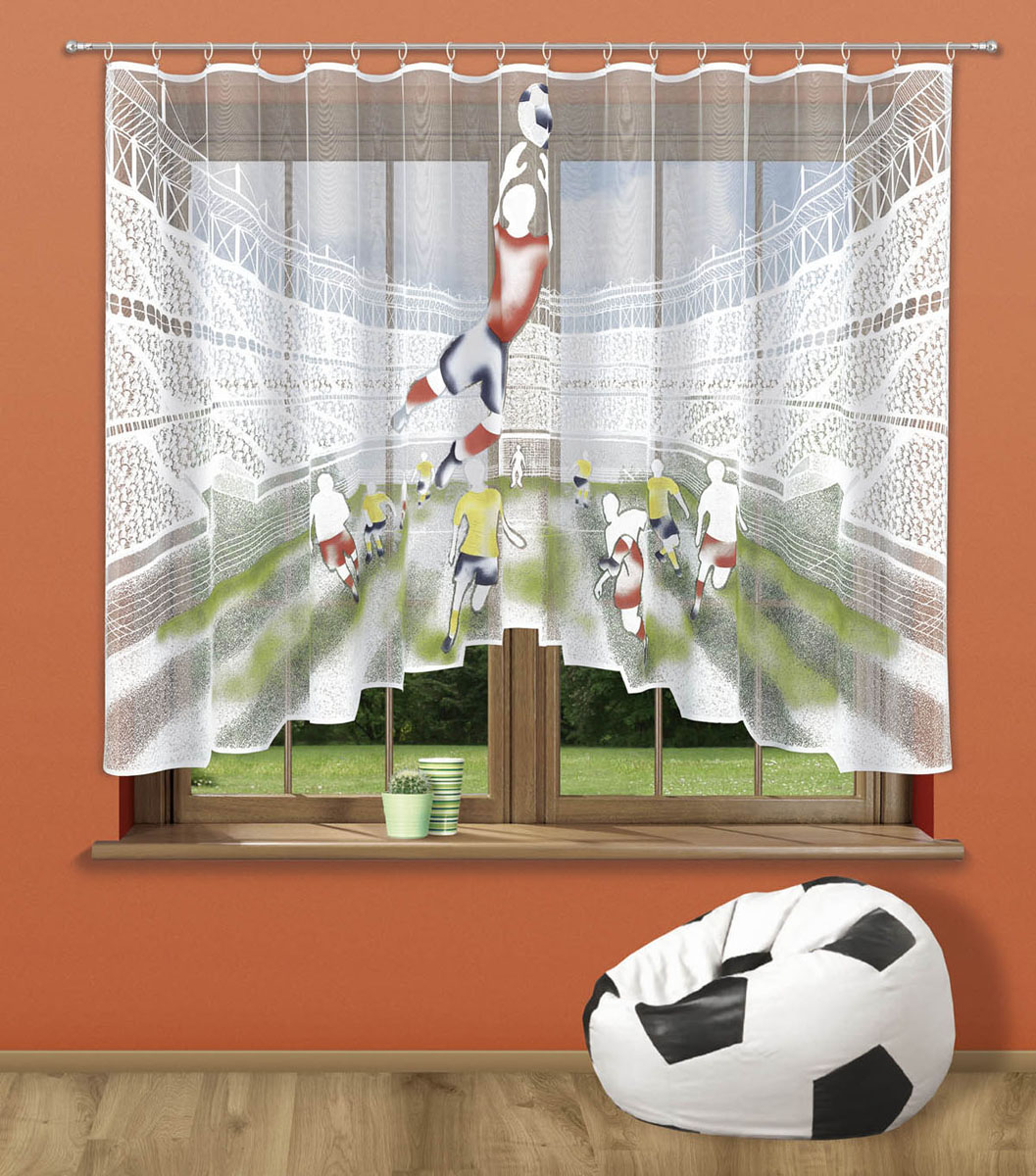 Гардина Stadion, цвет: белый, высота 150 смS03301004Гардина Stadion, изготовленная из полиэстера белого цвета, станет изюминкой интерьера вашей комнаты. Оригинальный принт в виде футболистов на стадионе привлечет к себе внимание и органично впишется в интерьер комнаты. Верхняя часть гардины не оснащена креплениями. Характеристики:Материал: 100% полиэстер. Размер упаковки:27 см х 34 см х 1,5 см. Артикул: 723560.В комплект входит:Гардина - 1 шт. Размер (Ш х В): 300 см х 150 см. Фирма Wisan на польском рынке существует уже более пятидесяти лет и является одной из лучших польских фабрик по производству штор и тканей. Ассортимент фирмы представлен готовыми комплектами штор для гостиной, детской, кухни, а также текстилем для кухни (скатерти, салфетки, дорожки, кухонные занавески). Модельный ряд отличает оригинальный дизайн, высокое качество. Ассортимент продукции постоянно пополняется.