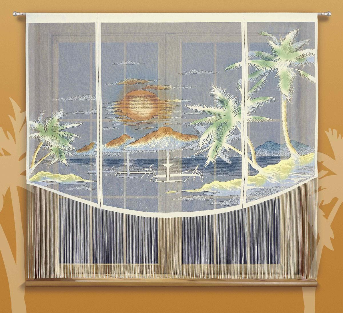 Гардина Karaiby, на кулиске, цвет: кремовый, высота 180 см672905Гардина Karaiby, изготовленная из полиэстера кремового цвета, станет великолепным украшением любого окна. Нижняя часть гардины декорирована бахромой. Тонкое плетение и рисунок в виде моря и пляжа привлекут к себе внимание и органично впишутся в интерьер. Верхняя часть гардины оснащена кулиской для крепления на круглый карниз. Характеристики:Материал: 100% полиэстер. Цвет: кремовый. Высота кулиски: 6 см. Размер упаковки:25 см х 2 см х 36 см. Артикул: 724789.В комплект входит: Гардина - 1 шт. Размер (ШхВ): 200 см х 180 см. Фирма Wisan на польском рынке существует уже более пятидесяти лет и является одной из лучших польских фабрик по производству штор и тканей. Ассортимент фирмы представлен готовыми комплектами штор для гостиной, детской, кухни, а также текстилем для кухни (скатерти, салфетки, дорожки, кухонные занавески). Модельный ряд отличает оригинальный дизайн, высокое качество. Ассортимент продукции постоянно пополняется.