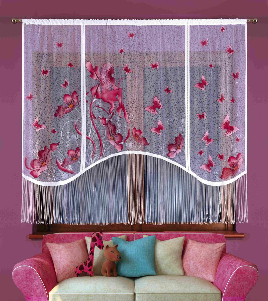 Гардина Elfik, на кулиске, цвет: белый, высота 180 см524839Воздушная гардина Elfik, изготовленная из полиэстера белого цвета, станет великолепным украшением любого окна. Нижняя часть гардины декорирована бахромой. Тонкое плетение и рисунок в виде бордовых бабочек привлекут к себе внимание и органично впишутся в интерьер. Верхняя часть гардины оснащена кулиской для крепления на круглый карниз. Характеристики:Материал: 100% полиэстер. Цвет: белый. Высота кулиски: 6 см. Размер упаковки:26 см х 5 см х 36 см. Артикул: 724918.В комплект входит: Гардина - 1 шт. Размер (ШхВ): 220 см х 180 см. Фирма Wisan на польском рынке существует уже более пятидесяти лет и является одной из лучших польских фабрик по производству штор и тканей. Ассортимент фирмы представлен готовыми комплектами штор для гостиной, детской, кухни, а также текстилем для кухни (скатерти, салфетки, дорожки, кухонные занавески). Модельный ряд отличает оригинальный дизайн, высокое качество. Ассортимент продукции постоянно пополняется.