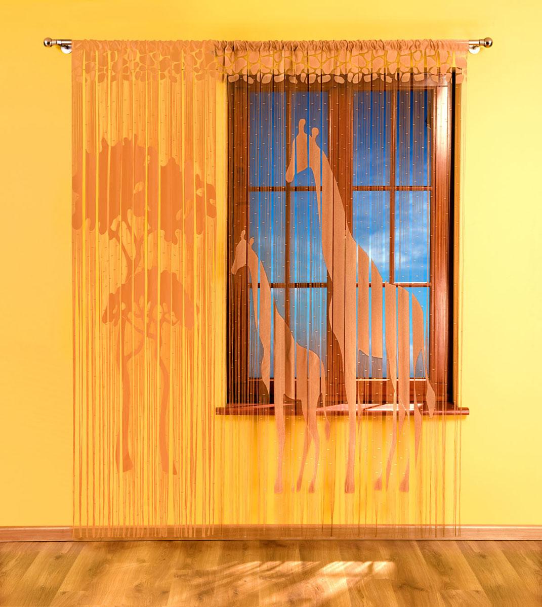 """Фото Гардина-лапша """"Жираф"""", на кулиске, цвет: кофе, высота 240 см. Покупайте с доставкой по России"""