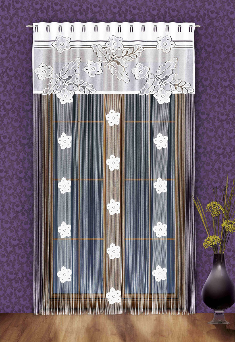 Гардина-лапша Aida, на петлях, цвет: белый, высота 250 смS03301004Гардина-лапша Aida, изготовленная из полиэстера белого цвета, станет великолепным украшением окна, дверного проема и прекрасно послужит для разграничения пространства. Гардина оформлена мелкой бахромой и кружевным цветочным узором. Необычный дизайн и яркое оформление привлекут внимание и органично впишутся в интерьер. Гардина-лапша оснащена петлями для крепления на круглый карниз. Характеристики:Материал: 100% полиэстер. Цвет: белый. Длина петли: 5,5 см. Размер упаковки:27 см х 37 см х 3 см. Артикул: 747146.В комплект входит: Гардина-лапша - 1 шт. Размер (ШхВ): 150 см х 250 см. Фирма Wisan на польском рынке существует уже более пятидесяти лет и является одной из лучших польских фабрик по производству штор и тканей. Ассортимент фирмы представлен готовыми комплектами штор для гостиной, детской, кухни, а также текстилем для кухни (скатерти, салфетки, дорожки, кухонные занавески). Модельный ряд отличает оригинальный дизайн, высокое качество. Ассортимент продукции постоянно пополняется.
