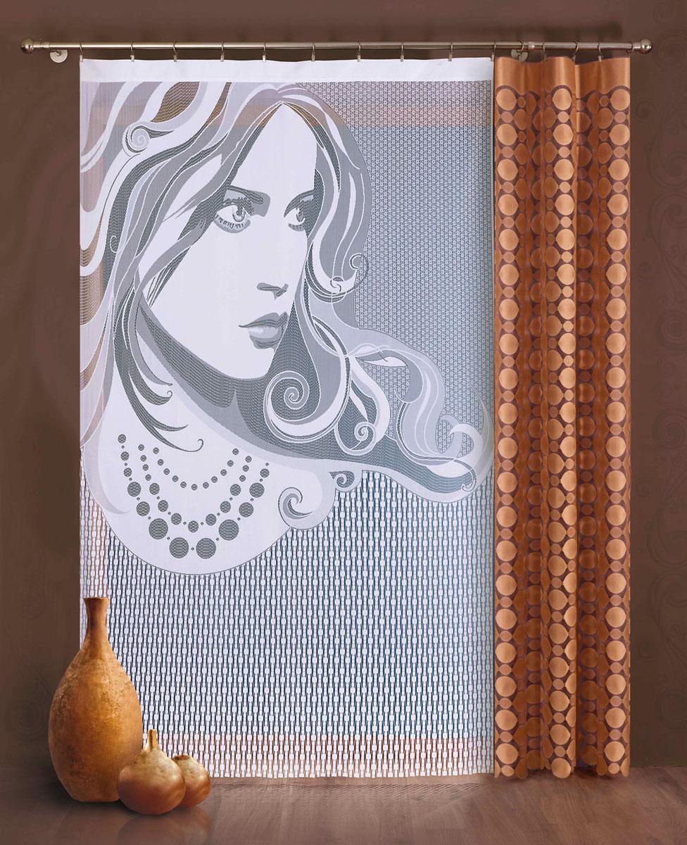 Комплект гардин-панно Wena, цвет: белый, коричневый, высота 240 см