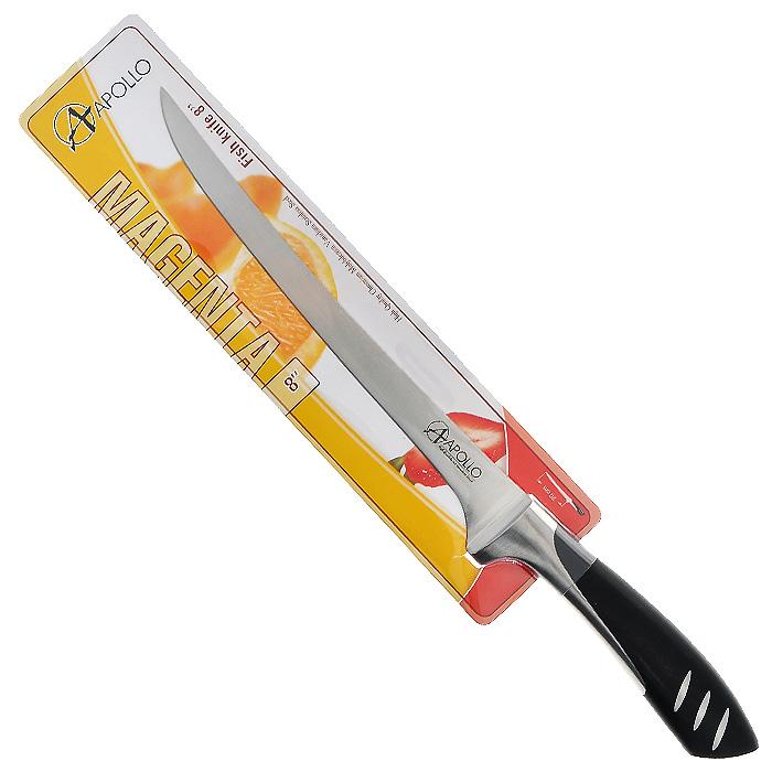 Нож для рыбы Apollo Magenta, цвет: серебристый, черный, длина лезвия 20 смС2ССК15Нож Apollo Magenta изготовлен из высококачественной нержавеющей стали, обеспечивающей долгое сохранение заточки. Эргономичная рукоятка выполнена из высококачественного пищевого пластика черного цвета. Рукоятка не скользит в руках и делает резку удобной и безопасной. Нож идеально нарезает и измельчает рыбу. Такой нож займет достойное место среди аксессуаров на вашей кухне. Характеристики:Материал:нержавеющая сталь, пластик. Цвет:серебристый, черный. Общая длина ножа:32 см. Длина лезвия: 20 см. Артикул:MGT-006.