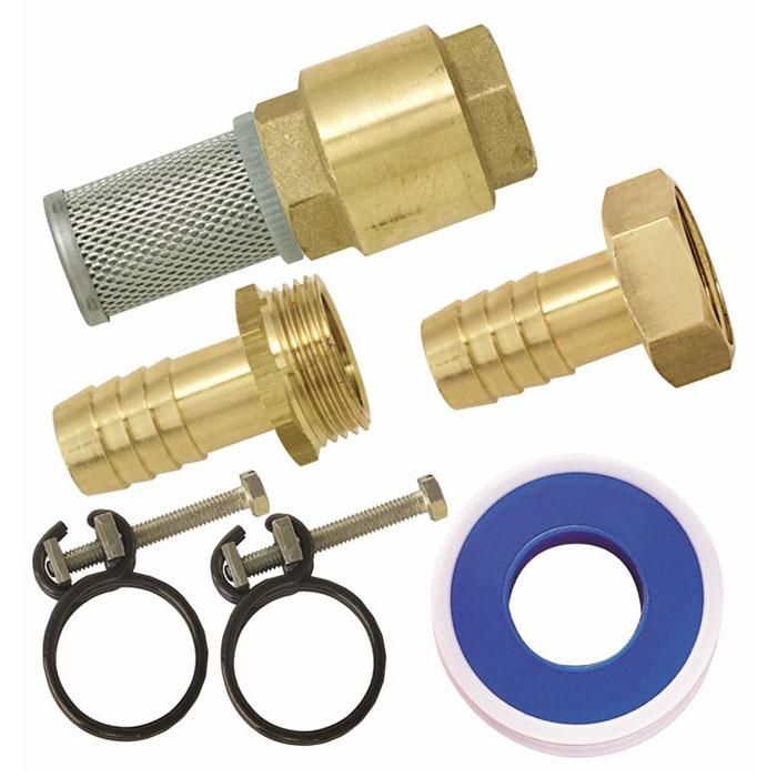 Набор фитингов для подключениянасоса, 1106-026Набор фитингов для подключениянасоса состоит из клапана с фильтром 1, наконечника н/р, наконечника вн/р, фумленты, 2 хомутов. Характеристики: Материал: латунь, металлический фильтр. Размер: 6 см х 10 см х 18 см. Цвет: золотистый. Размер упаковки: 6 см х 10 см х 18 см.