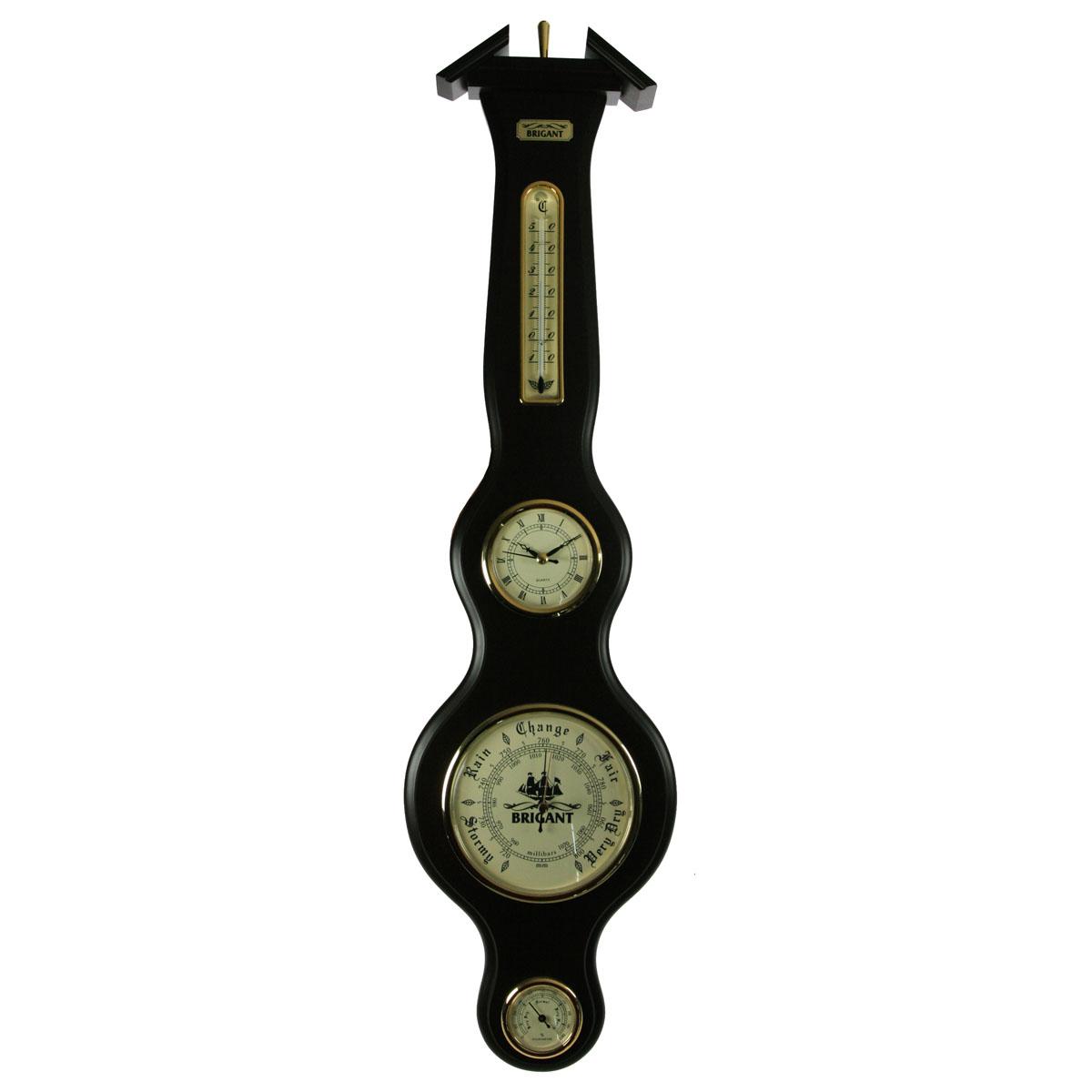 Часы-метеостанция настенная Brigant: барометр, термометр, гигрометр. 28026THN132NЧасы-метеостанция Brigant выполнена в виде деревянной лакированной панели с расположенными на ней часами, термометром, барометром и гигрометром. Модель выполнена в духе морской тематики, хромировка под золото и светлый благородный цвет дерева делают этот предмет интерьера заслуживающим восхищения и гордости. Прилагается инструкция по эксплуатации на русском языке. Характеристики:Материал: дерево, стекло, металл. Размер панели: 75 см х 19 см. Диаметр часов: 8,5 см. Диаметр барометра: 14 см. Диаметр гигрометра: 5,5 см. Длина термометра: 16 см. Размеры упаковки: 83 см х 21 см х 6 см. Производитель: Франция. Артикул: 28026.