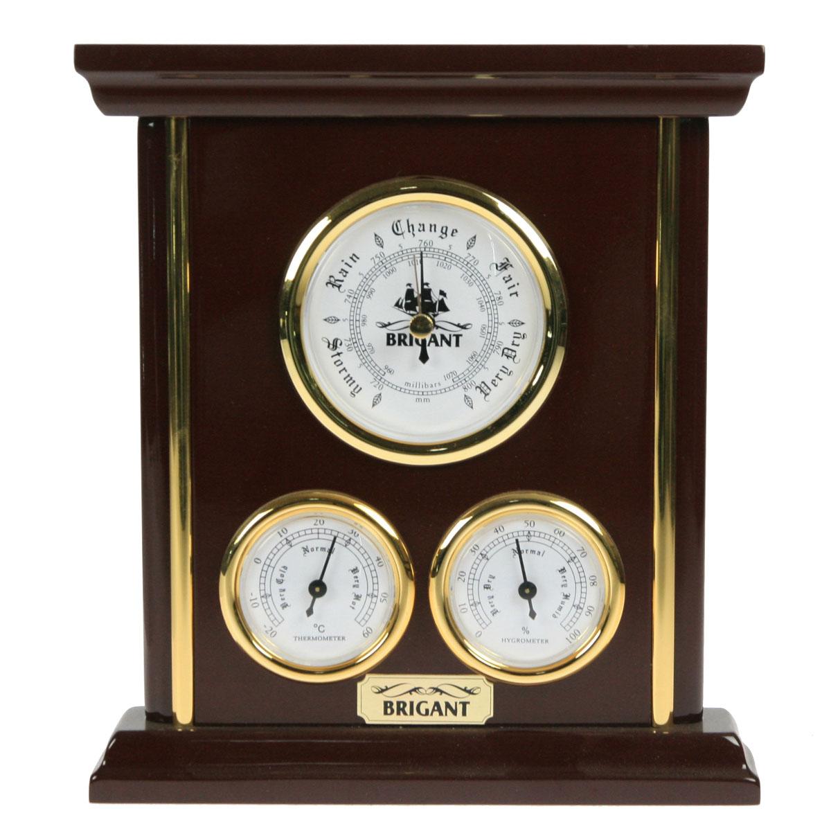 Метеостанция настольная. Барометр, термометр, гигрометр. 2805228121На панели расположены три прибора, которые одновременно показывают давление (барометр), температуру (термометр) и влажность (гигрометр) воздуха. Хромировка под золото и благородный цвет панели сделают этот предмет настоящим украшением вашего интерьера. Характеристики:Материал:МДФ, стекло, бумага, металл, пластмасса. Производитель:Франция. Размер метеостанции:19,5 см х 3,5 см х 22 см. Размер упаковки:24,5 см х 6 см х 21,5 см. Артикул: 28052.
