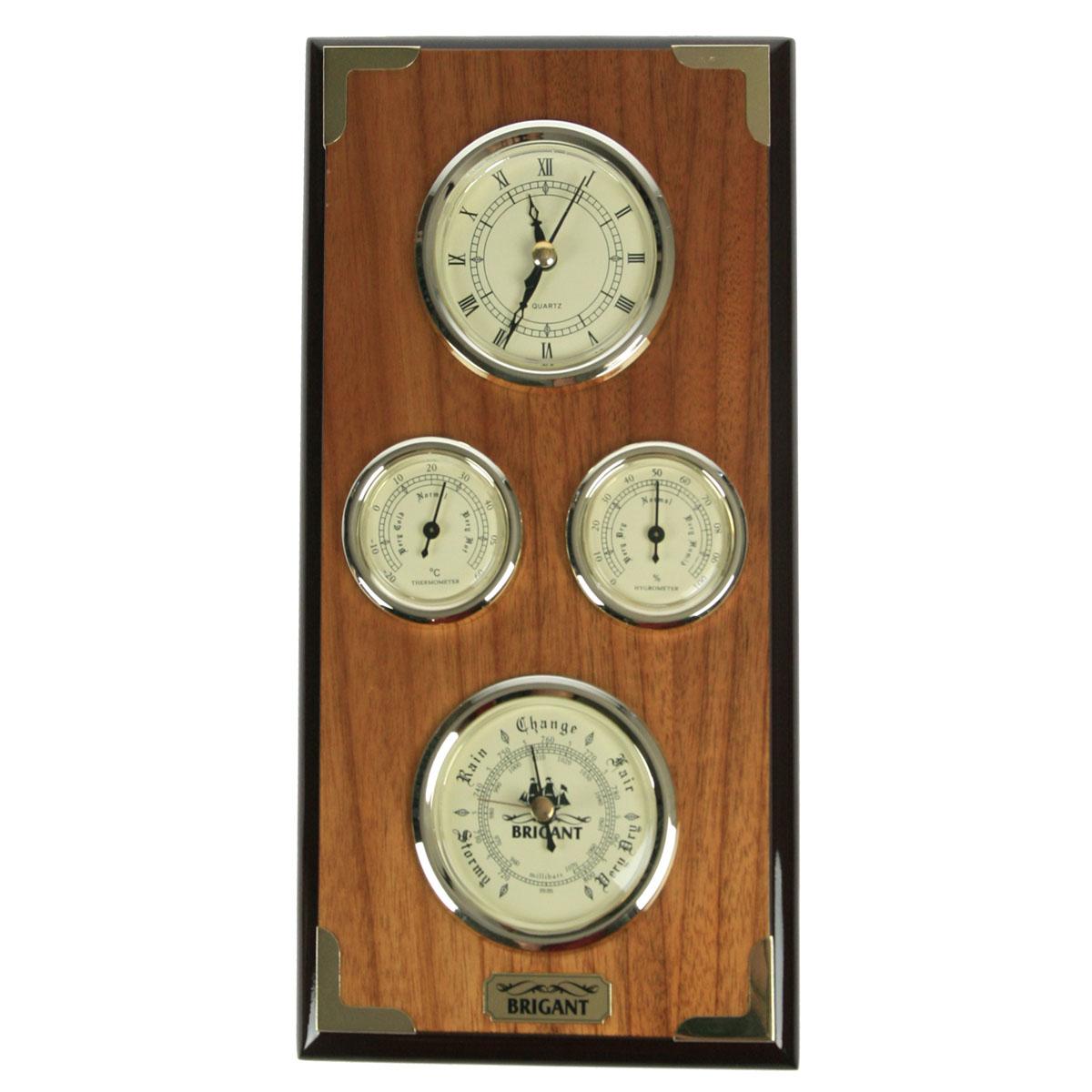 Часы-метеостанция Brigant: барометр, термометр, гигрометр, цвет: светлый орех. 28134Брелок для ключейЧасы-метеостанция Brigant выполнены в виде деревянной лакированной панели с расположенными на ней часами, барометром, термометром и гигрометром. Модель выполнена в духе морской тематики, хромировка под золото и благородный цвет дерева делают этот предмет интерьера заслуживающим восхищения и гордости. Прилагается инструкция по эксплуатации на русском языке.Во всех барометрах Brigant используются механизмы французской фирмы Barostar, специализирующейся на выпуске барометров более ста лет.Качество изготовления продукции Brigant, применяемые материалы и технологии удовлетворяют всем жестким требованиям западноевропейских экологических стандартов, что подтверждается международными сертификатами.Барометр требует калибровки, для точного измерения давления, калибровка производится в сравнении с объявленным на данный момент атмосферным давлением в вашей местности. Метод калибровки указан в прилагающейся инструкции.Гигрометр и термометр были откалиброваны и протестированы на заводе изготовителе.К часам требуется докупить батарейку типа АА (в комплект не входит). Характеристики:Материал: МДФ, стекло, бумага, металл, ПМ. Цвет: светлый орех. Размер метеостанции: 32 см х 16 см х 3 см. Диаметр шкал часов и барометра: 7 см. Диаметр шкал термометра и гигрометра: 4,5 см. Размер упаковки: 35 см х 18 см х 5,5 см. Артикул: 28134.