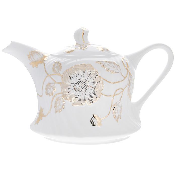 Чайник заварочный Золотой флер, 1,5 л115510Заварочный чайник Золотой флер изготовлен из высококачественного фарфора белого цвета. Он имеет изящную форму и декорирован золотистым цветочным рисунком. Чайник сочетает в себе стильный дизайн с максимальной функциональностью. Красочность оформления придется по вкусу и ценителям классики, и тем, кто предпочитает утонченность и изысканность. Чайник упакован в подарочную коробку из плотного золотистого картона. Внутренняя часть коробки задрапирована белым атласом, и чайник надежно крепится в определенном положении благодаря особым выемкам в коробке. Характеристики:Материал: фарфор. Объем чайника:1,5 л. Размер чайника (без крышки) (Д х Ш х В):25 см х 16 см х 14 см. Размер упаковки (Д х Ш х В):26 см х 18 см х 16 см. Производитель:Китай. Артикул:595-166.