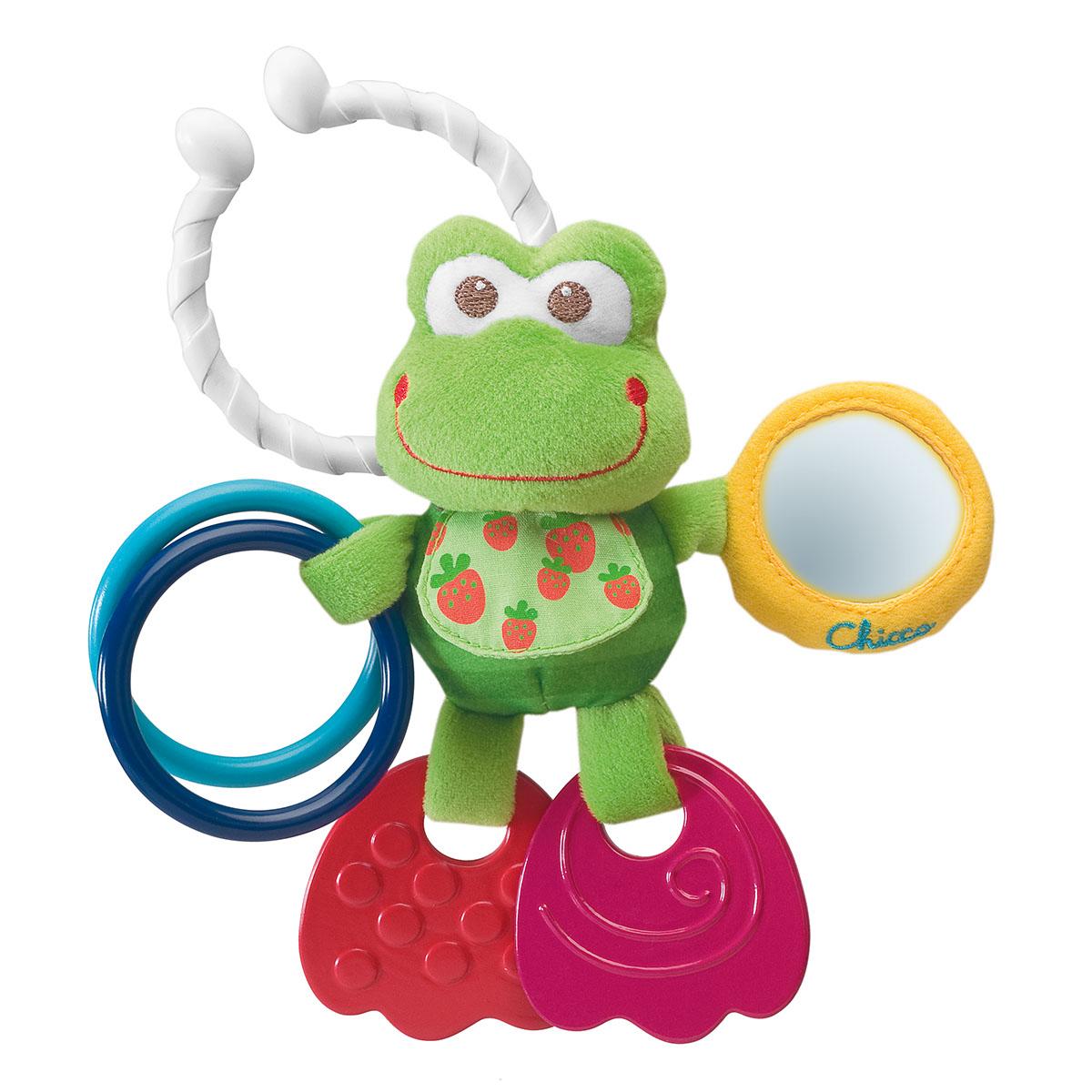"""Развивающая игрушка-подвеска Chicco """"Лягушонок"""" привлечет внимание вашего малыша и не позволит ему скучать! Она выполнена из различных материалов, абсолютно безопасных для ребенка. Две лапки лягушонка являются прорезывателями, которые помогут малышу снять неприятные ощущения при появлении первых зубов. В одной из лапок он держит два пластиковых колечка .в другой - круглое безопасное зеркальце. С помощью кольца игрушку можно повесить на коляску, кресло или игровую дугу малыша. Игрушка """"Лягушонок"""" поможет малышу развить цветовое и звуковое восприятие, мелкую моторику рук и координацию движений."""