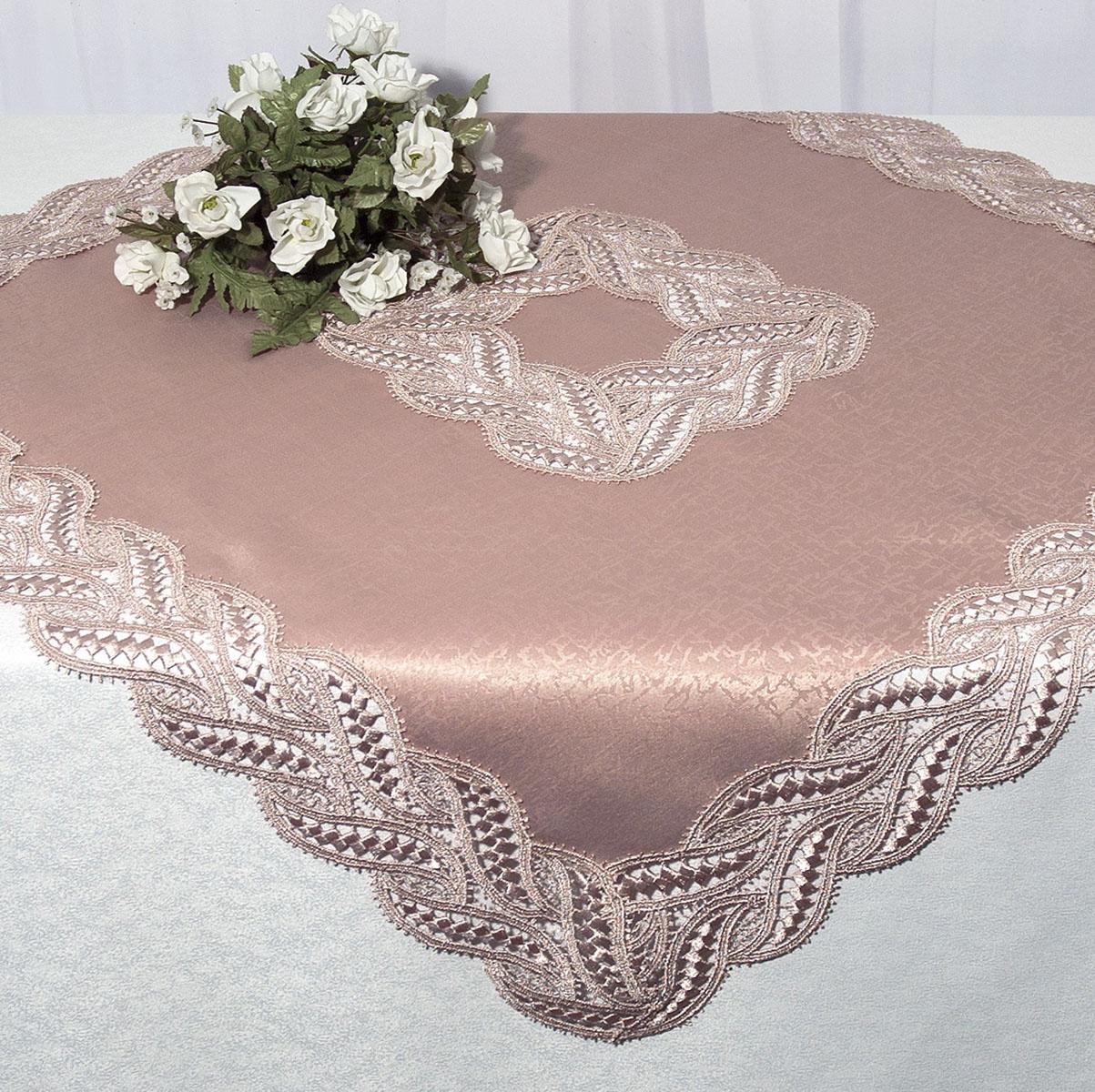 Скатерть Schaefer, квадратная, цвет: чайная роза, 85x 85 см. 3028Ветерок 2ГФКвадратная скатерть Schaefer среднего размера, выполненная из полиэстера цвета чайной розы, оформлена вышитым по краю и в центре кружевом, в тон скатерти, в технике - макраме. Изделия из полиэстера легко стирать: они не мнутся, не садятся и быстро сохнут, они более долговечны, чем изделия из натуральных волокон.Вы можете использовать эту скатерть самостоятельно, либо сверху основной, однотонной, большой скатерти. В любом случае она добавит в ваш дом стиля, изысканности и неповторимости. Характеристики:Материал: 100% полиэстер. Цвет: чайная роза. Размер скатерти:85 см х 85 см. Артикул:3028. Немецкая компания Schaefer создана в 1921 году. На протяжении всего времени существования она создает уникальные коллекции домашнего текстиля для гостиных, спален, кухонь и ванных комнат. Дизайнерские идеи немецких художников компании Schaefer воплощаются в текстильных изделиях, которые сделают ваш дом красивее и уютнее и не останутся незамеченными вашими гостями. Дарите себе и близким красоту каждый день!