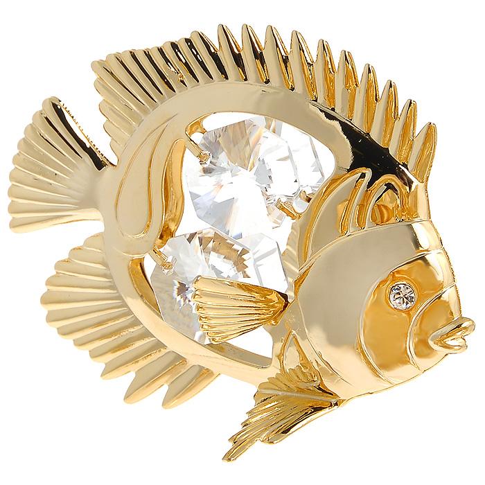 Фигурка декоративная Рыбка, цвет: золотистый. 692716THN132NДекоративная фигурка Рыбка, золотистого цвета, станет необычным аксессуаром для вашего интерьера и создаст незабываемую атмосферу. Фигурка в виде золотистой рыбки инкрустирована белыми кристаллами. Кристаллы, украшающие фигурку, носят громкое имяSwarovski. Ограненные, как бриллианты, кристаллы блистают сотнями тысяч различных оттенков.Эта очаровательная фигурка послужит отличным функциональным подарком, а также подарит приятные мгновения и окунет вас в лучшие воспоминания.Фигурка упакована в подарочную коробку. Характеристики:Материал: металл, австрийские кристаллы. Размер фигурки: 6,3 см х 5 см х 3,5 см. Цвет: золотистый. Размер упаковки: 6 см х 9 см х 4,5 см. Артикул: 692716.