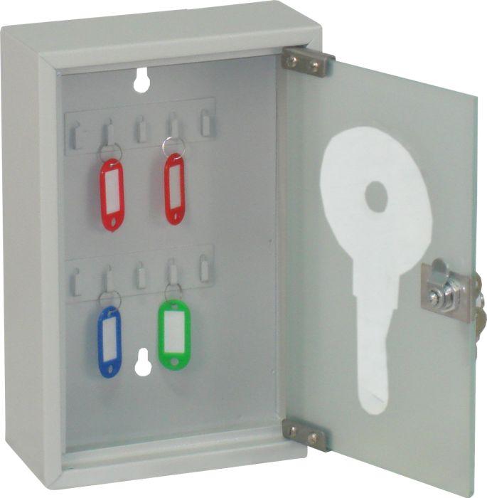 Ящик для 10 ключей Office-Force со стеклянной дверцей, цвет: серыйRG-D31SВашему вниманию предлагается специальный ящик для ключей с замком, который позволяет точно контролировать наличие всех ключей в Вашей компании. Стальной корпус покрашен методом напыления краски в черный цвет. В задней стенке расположены 2 отверстия для крепления бокса к стене. Оснащен прочными металлическими крючками для удобной систематизации ключей.В комплект входят: самоклеящиеся этикетки с номерами, бирки для ключей, крепеж для монтажа бокса на стену. Характеристики:Материал: металл, стекло. Размер ящика: 20 см х 30 см х 8 см. Цвет: серый. Размер упаковки: 21 см х 31 см х 9 см. Изготовитель: Китай. Артикул: 20083.