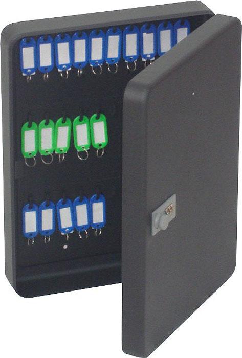 Ящик для 36 ключей Office-Force с кодовым замком, цвет: черный12723Вашему вниманию предлагается специальный ящик для ключей с кодовым замком, который позволяет точно контролировать наличие всех ключей в Вашей компании. Стальной корпус покрашен методом напыления краски в черный цвет. В задней стенке расположены 2 отверстия для крепления бокса к стене. Оснащен прочными металлическими крючками для удобной систематизации ключей.В комплект входят: самоклеящиеся этикетки с номерами, бирки для ключей, крепеж для монтажа бокса на стену. Характеристики:Материал: металл. Размер ящика: 30 см х 24 см х 8 см. Цвет: черный. Размер упаковки: 31 см х 25 см х 9 см. Изготовитель: Китай. Артикул: 20092.