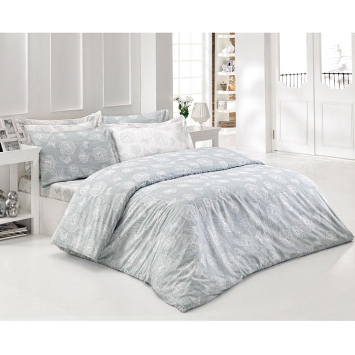 Комплект белья Tete-a-tete Верити (2-х спальный КПБ, сатин премиум, наволочки 70х70, 50х70), цвет: бледно-голубой, белый. Т-0036-01Т-0040-01_1,5-спальныйКомплект постельного белья Верити является экологически безопасным для всей семьи, так как выполнен из натурального хлопка. Комплект состоит из пододеяльника, простыни и четырех наволочек. Постельное белье оформлено оригинальным рисунком и имеет изысканный внешний вид. Все предметы комплекта цельнокроеные. Вас поразит необыкновенная тонкость, почти воздушная легкость и невероятная шелковистость этой специальной ткани, которая еще усилится после стирки. Ненавязчивые цвета хорошо примут наложение любого другого оттенка, при любом освещении. Ваша постель будет выглядеть безупречно. Наволочки имеют клапан без пуговиц и молнии.Пододеяльникимеет молнию на нижнем конце. Молния имеет фиксаторы, не позволяющие расстегиваться ей до самого конца, а сама она очень прочная и состоит из одной эргономичной детали, что не позволит ей сломаться легко.Сатин - производится из высших сортов хлопка, а своим блеском, легкостью и на ощупь напоминает шелк. Такая ткань рассчитана на 200 стирок и более. Постельное белье из сатина превращает жаркие летние ночи в прохладные и освежающие, а холодные зимние - в теплые и согревающие. Благодаря натуральному хлопку, комплект постельного белья из сатина приобретает способность пропускать воздух, давая возможность телу дышать. Одно из преимуществ материала в том, что он практически не мнется и ваша спальня всегда будет аккуратной и нарядной. Рекомендации по уходу:стирать изделия, вывернув их наизнанку (особенно это касаетсяизделий с фурнитурой), при температуре до 30°С, c использованием современных высокотехнологичных порошков, щадящими отбеливателями без хлора, мягкими кондиционерами, смягчителями для воды, если она у вас жесткая, щадящим режимом отжима и сушки, без химчистки. Характеристики: Материал: премиум-сатин (100% хлопок). Размер упаковки: 34 см х 7 см х 53 см. В комплект входят: Пододеяльни