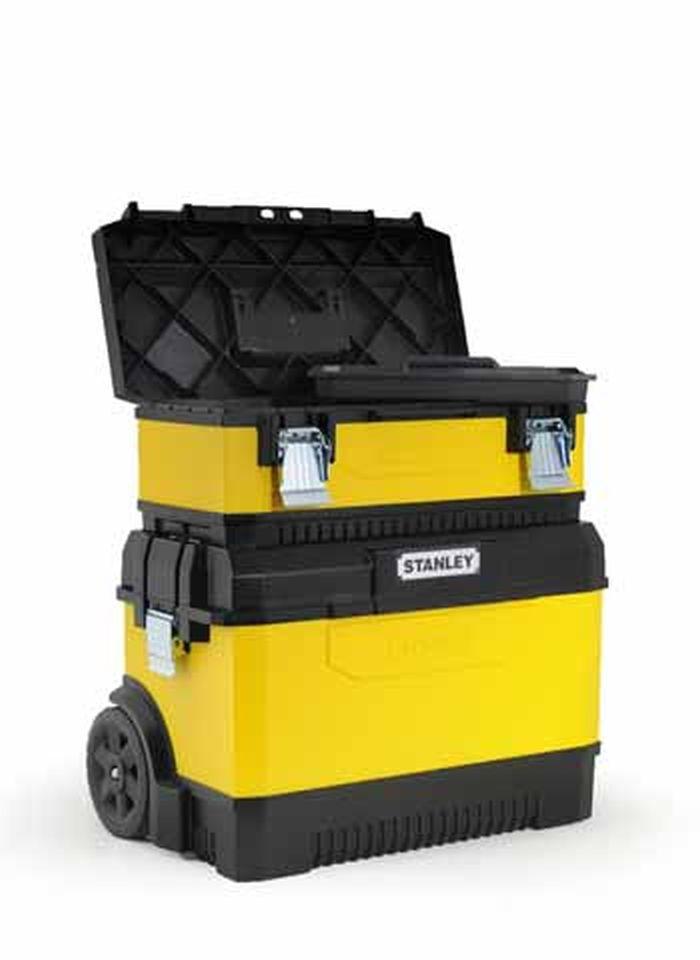"""Ящик для инструментов Stanley, 2-секционный, цвет: желтый, 64 см х 64 см х 38 см2706 (ПО)Вместительный ящик с колесами обеспечивает большой объем для хранения и перемещения инструмента. Телескопическая алюминиевая ручка. Высокопрочные колеса диаметром 7"""". Прочная конструкция для защиты содержимого. Возможность транспортировки большой нагрузки. Сочетает преимущества пластмассы с прочностью металла. Дополнительный отделяемый ящик для инструмента с переносным лотком для мелких деталей и с V-образным пазом в крышке для удобства расположения детали при пилении. Большие металлические с защитой от коррозии замки с возможностью использования навесного замка (в комплект поставки не входит). Характеристики: Материал: пластик, металл. Размеры 1 ящика: 58 см х 28 см х 23 см. Размеры лотка:38 см х 24 см х 3 см. Глубина ящика:16 см. Размеры 2 ящика: 63 см х 38 см х 43 см. Размеры лотка:42 см х 28 см х 3 см. Глубина ящика:35 см. Длина ручки:67 см. Размеры упаковки:64 см х 64 см х 38 см."""