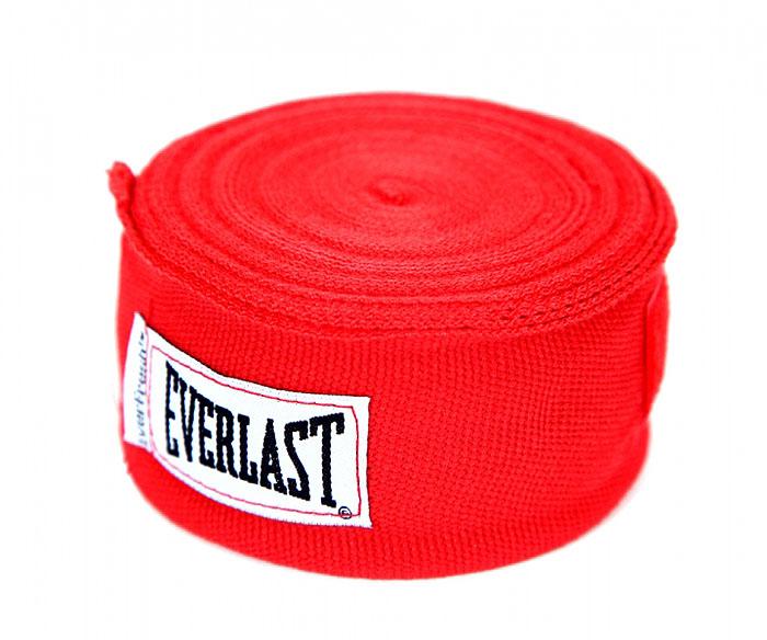 Бинт боксерский эластичный Everlast, длина 4,55 м, цвет: красный