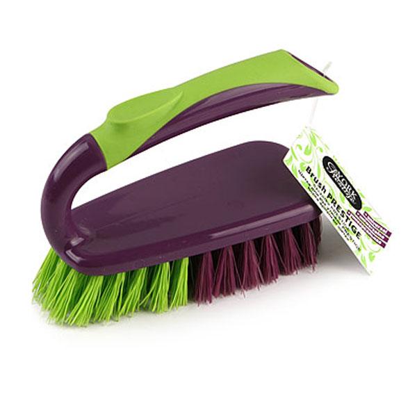 Щетка для рук Prestige, утюжок531-105Щетка York в виде утюжка, станет незаменимым помощником в деле удаления пыли и мусора на небольших поверхностях. Фиолетовый ворс - мягкий, салатовый ворс - жесткий, поэтому щетка не оставит от грязи и следа.