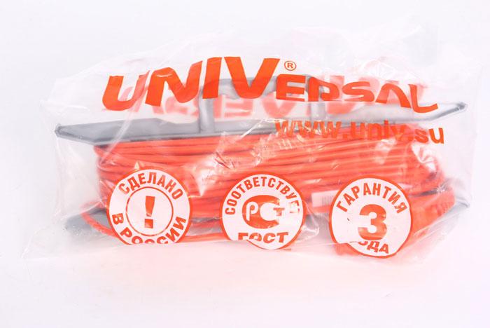 Удлинитель на рамке UNIVersal без заземления, цвет: оранжевый, 30 м 963201883253Силовой удлинитель на рамке UNIVersal с одной розеткой предназначен для строительных объектов с удаленным источником энергии. Двойная изоляция ПВХ силового удлинителя обеспечивает ему дополнительную защиту от внешних факторов. Максимальная нагрузка - 1300 Вт, 6А. Не рекомендуется использовать во влажных и химически активных средах. Характеристики:Материал: пластик, ПВХ.Длина провода: 30 м.Максимальная мощность: 1300 Вт.Максимальный ток: 6 A.Провод: ПВС 2 х 0,75 мм.Размер упаковки: 37,5 см х 49 см х 9 см.