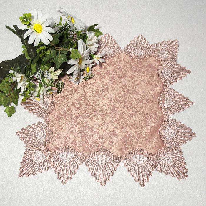 Салфетка Schaefer, цвет: чайная роза, 40 см х 40 см. 3026134460Квадратная салфетка Schaefer, выполненная из полиэстера цвета чайной розы, оформлена вышитым по краю кружевом в технике макраме.Изделия из искусственных волокон легко стирать: они не мнутся, не садятся и быстро сохнут, они более долговечны, чем изделия из натуральных волокон. Вы можете использовать салфетку для декорирования стола, комода, журнального столика. В любом случае она добавит в ваш дом стиля, изысканности и неповторимости и убережет мебель от царапин и потертостей. Характеристики:Материал: 100% полиэстер. Размер салфетки: 40 см х 40 см. Цвет:чайная роза. Артикул:3026. Немецкая компания Schaefer создана в 1921 году. На протяжении всего времени существования она создает уникальные коллекции домашнего текстиля для гостиных, спален, кухонь и ванных комнат. Дизайнерские идеи немецких художников компании Schaefer воплощаются в текстильных изделиях, которые сделают ваш дом красивее и уютнее и не останутся незамеченными вашими гостями. Дарите себе и близким красоту каждый день!