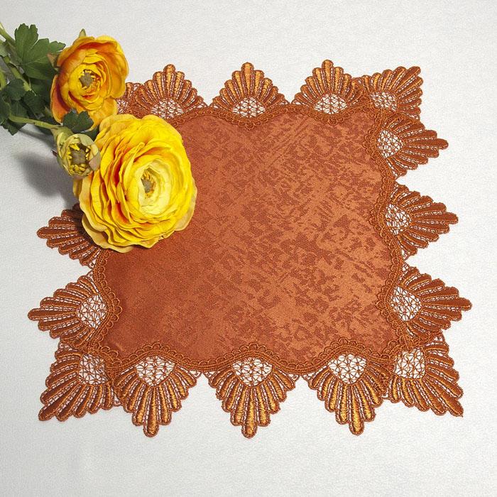 Салфетка Schaefer, цвет: терракотовый, 40 х 40 см 30274039Квадратная салфетка Schaefer, выполненная из полиэстера терракотового цвета, оформлена вышитым по краю кружевом в технике макраме.Изделия из искусственных волокон легко стирать: они не мнутся, не садятся и быстро сохнут, они более долговечны, чем изделия из натуральных волокон. Вы можете использовать салфетку для декорирования стола, комода, журнального столика. В любом случае она добавит в ваш дом стиля, изысканности и неповторимости и убережет мебель от царапин и потертостей. Характеристики:Материал: 100% полиэстер. Размер салфетки: 40 см х 40 см. Цвет:терракотовый. Артикул:3027. Немецкая компания Schaefer создана в 1921 году. На протяжении всего времени существования она создает уникальные коллекции домашнего текстиля для гостиных, спален, кухонь и ванных комнат. Дизайнерские идеи немецких художников компании Schaefer воплощаются в текстильных изделиях, которые сделают ваш дом красивее и уютнее и не останутся незамеченными вашими гостями. Дарите себе и близким красоту каждый день!