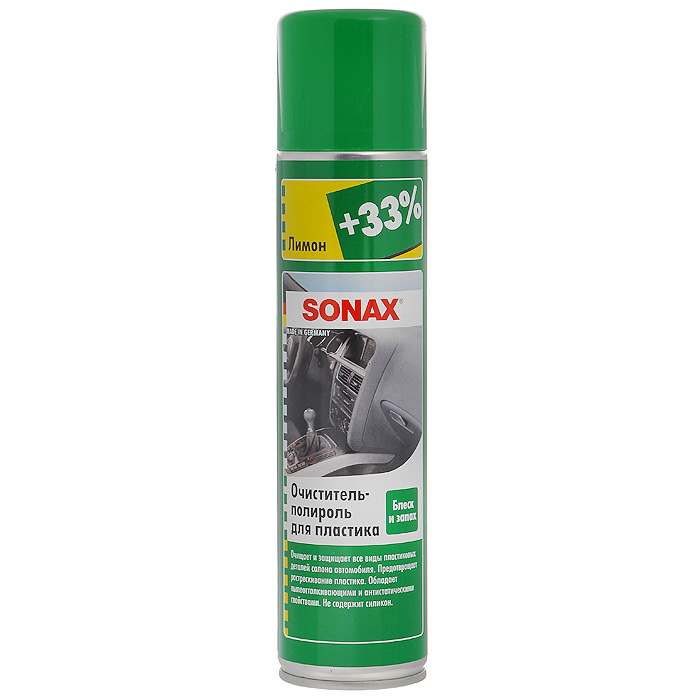 Очиститель-полироль Sonax, для пластика, с ароматом лимона, 400 млRC-100BWCОчиститель-полироль Sonax чистит и ухаживает за всеми пластиковыми поверхностями внутри автомобиля. Придает блеск и оставляет легкий свежий аромат лимона. Отталкивает грязь, обладает антистатическим эффектом, защищает пластик от повреждений. Подходит для деревянных поверхностей. Не содержит силикон. Характеристики: Объем: 400 мл. Артикул: 343300. Товар сертифицирован.