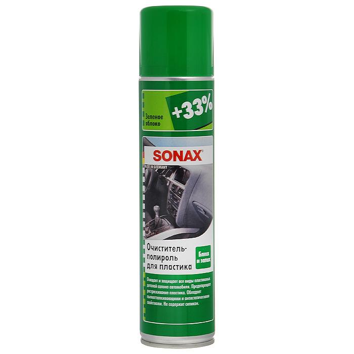 Очиститель-полироль Sonax, для пластика, зеленое яблоко, 400 млRC-100BWCОчиститель-полироль Sonax с ароматом зеленого яблока, чистит и ухаживает за всеми пластиковыми поверхностями внутри автомобиля. Придает блеск и оставляет легкий свежий аромат. Отталкивает грязь, обладает антистатическим эффектом, защищает пластик от повреждений, подходит для деревянных поверхностей. Не содержит силикон. Характеристики: Объем: 400 мл. Артикул: 344300. Товар сертифицирован.</b
