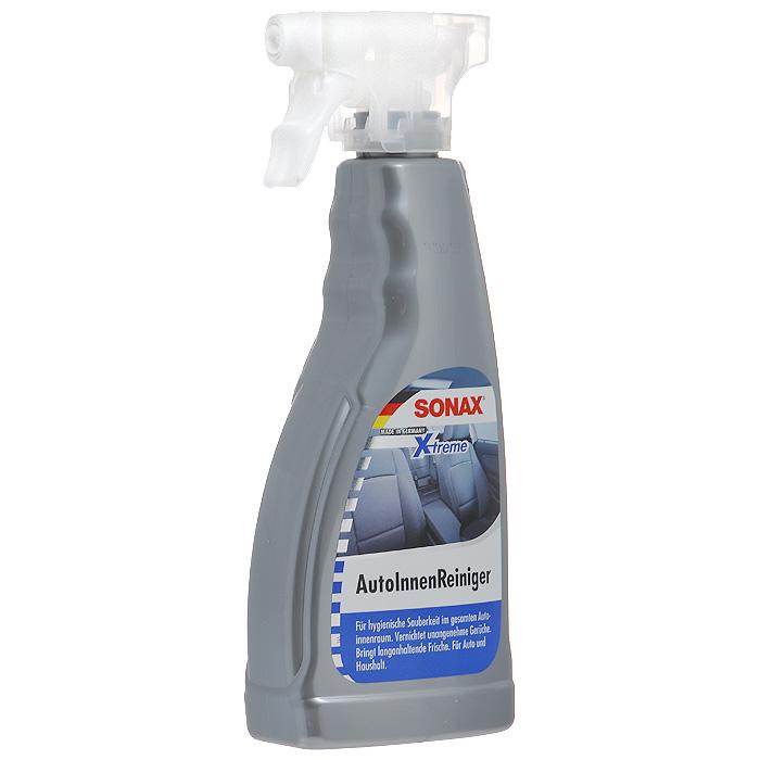 Очиститель салона Sonax Xtreme, 500 мл221241Очиститель Sonax Xtreme применяется для обивки, пластикового потолка и люков, не причиняет вреда, удаляет любую грязь. Без фосфатов и растворителей, придает запах свежести. Характеристики: Объем: 500 мл. Артикул: 221241. Товар сертифицирован.